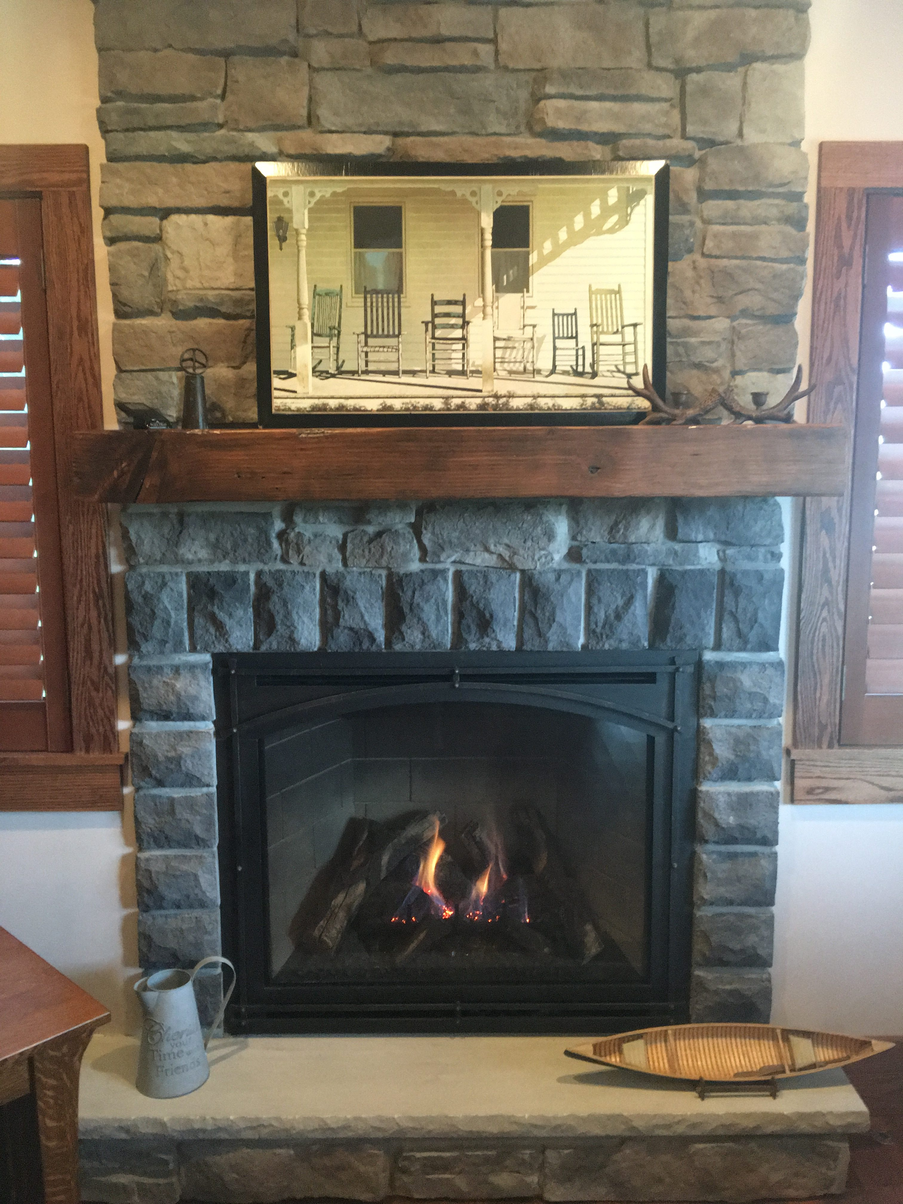 Image of a Bayport 41-Log Gas fireplace by Kozy Heat featuring Masonry interior and Stone Facing.